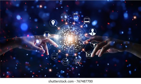 Hands touching global connection and icon customer networking data exchanges on glitter bright lights colorful background