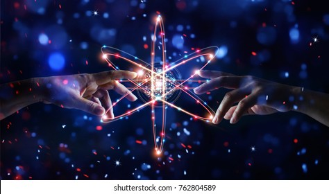 Hands touching science and network connection and data exchanges on glitter bright lights colorful  background