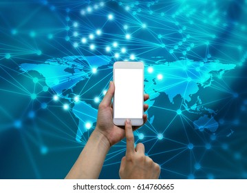 Hands touching smartphone with internet connected lines and global map background, social nets and network concept illustration