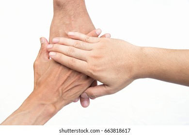 Hands touching together on white background, good teamwork concept