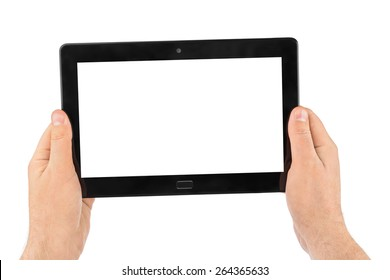 Hands with touchpad pc isolated on white background
