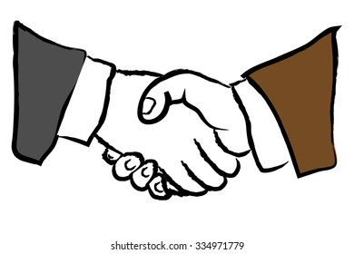 hands of two businessmen illustration shaking hands in business suits.
