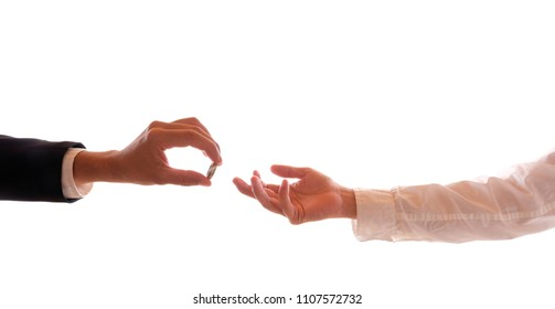 Hands of two gay men at the wedding ceremony