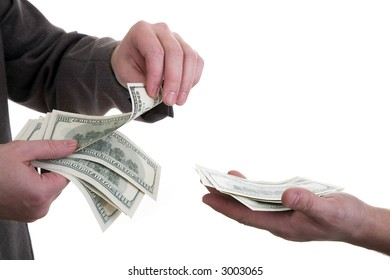 Hands of two men counting, giving and taking dollars (Count money)