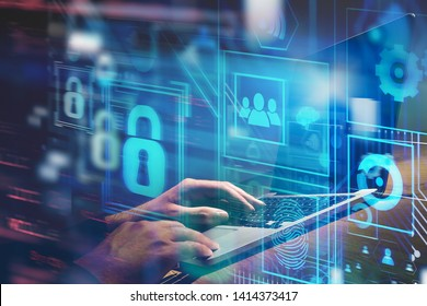 Hands typing on laptop computer at table with double exposure of online security virtual interface. Concept of data protection and blockchain. Toned image blurred