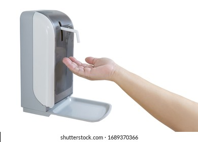 Hands under the automatic alcohol dispenser on white background. Infection and hospitably concept. save and protect disease virus against germs and clean in the public area.