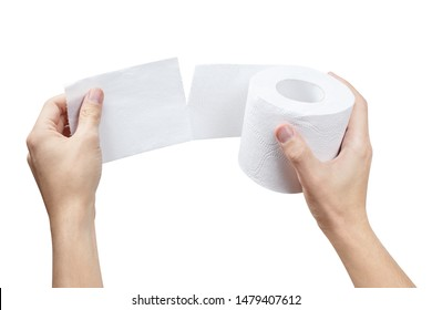 Hands unrolling a toilet paper roll, isolated on white background