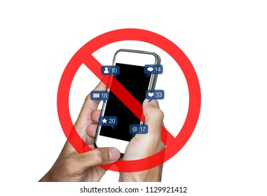 Hands using mobile smart phone and social media, social network notification icons, with not allow sign, isolated on white background