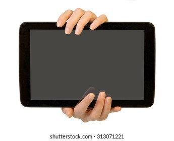 Hands using tablet pc with blank screen, isolated