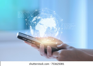 Hands using telephone device display business data. Mobile Technology concept.