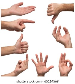 Hands in various positions