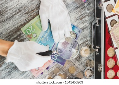 Hands in white gloves, different Canadian dollars, numismatics concept, blurred background