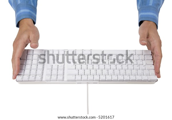 Hands and white keyboard. Photo with clipping path.