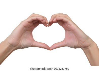 Hands of a woman forming a heart