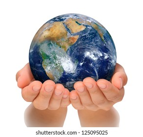 Hands of woman holding globe, Africa and Near East. Elements of this image furnished by NASA