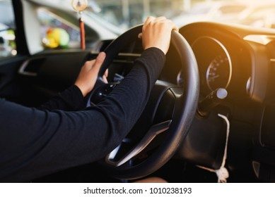 Hands woman holding steering wheel ,Driving a car