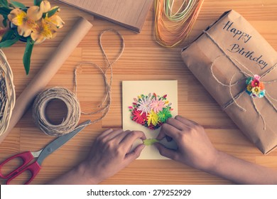 Pleasant Handmade Card Images Stock Photos Vectors Shutterstock Funny Birthday Cards Online Overcheapnameinfo