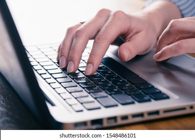 hands of women who use laptop keyboard Concept of email delivery and online technology usage