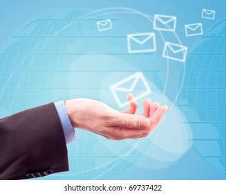 hands with world mail delivery on map background