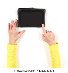 Hands in yellow jacket and tablet on white background
