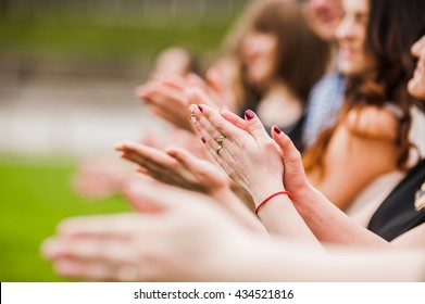 Hands of young people in the nature, team concept.Clap one's hands