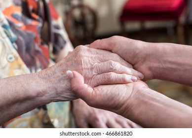Hands of young woman holding the hands of an elderly person