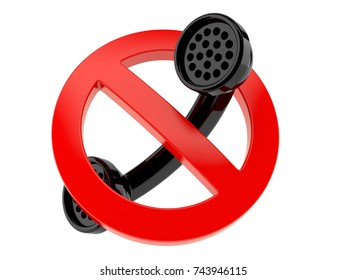 Handset with forbidden sign isolated on white background. 3d illustration
