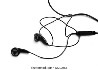 Handsfree headphones with cord, isolated on white