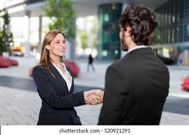 Handshake between business colleagues outdoor