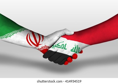 Handshake between iraq and iran flags painted on hands, illustration with clipping path.