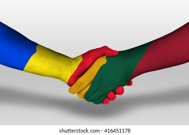 Handshake between lithuania and romania flags painted on hands, illustration with clipping path.