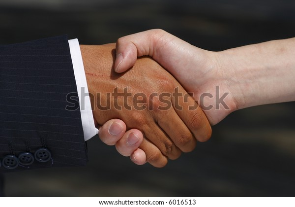 Handshake between mixed cultures signifying agreement and cooperation.