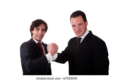 handshake between two businessmen smiling, isolated on white, studio shot