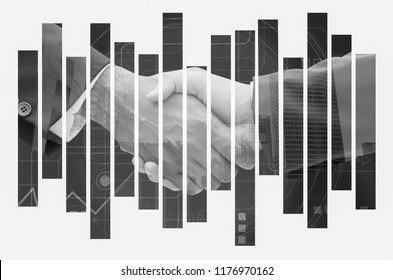Handshake of business man,teamwork, achieve, concept. Double exposure confirmation of business alliance partners , commitment  in business,partnership deal,black & white tone.