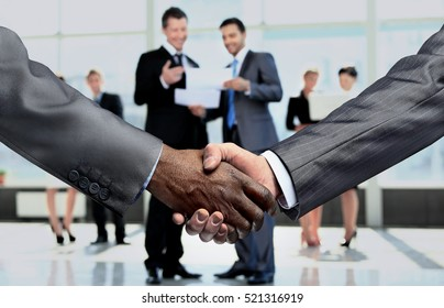 handshake of business partners.a successful agreement after the
