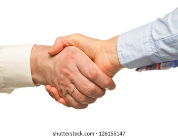 Handshake of businessman and businesswoman isolated on white