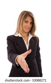 Handshake - Businesswoman offering a business deal
