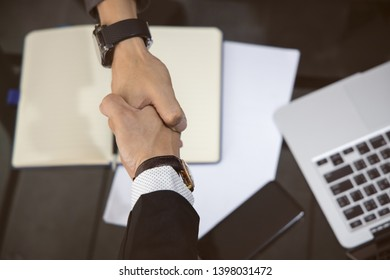 Handshake of Customer businessman for  Help, trust ,support ,empathy and factors relationship marketing for reach successful achievement and meeting commit concept in the office