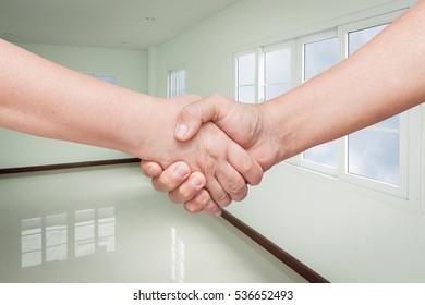 handshake. with Empty room