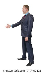 Handshake full-grown man isolated on white background, side view of person greeting gesture. Business man stretches out his hand forward to someone.