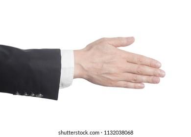 Handshake gesture businessman hand isolated on white background