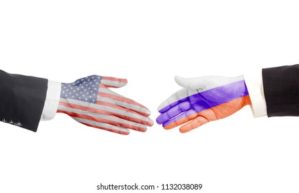 Handshake gesture businessmans hands with Russian and USA flag isolated on white background