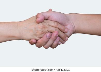 Handshake - Hand holding on White background