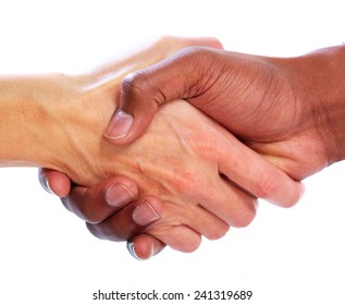 Handshake. Hands of businessman isolated on white background