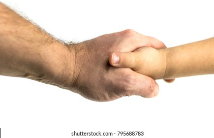 Handshake of hands of the man and the child on a white background. Isolated.