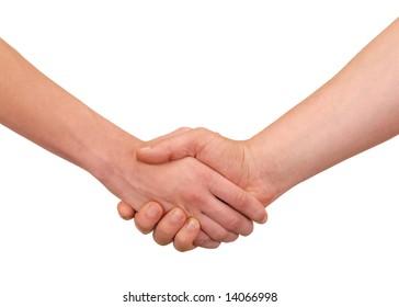 Handshake - isolated hands on white background