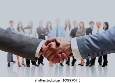 handshake isolated on business background.