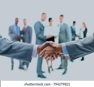 handshake isolated on business background .