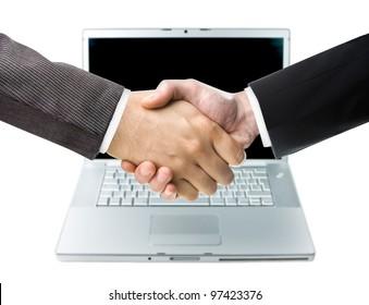 Handshake and Laptop