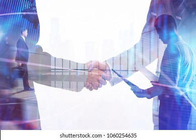 Handshake on abstract forex backdrop. Teamwork and finance concept. Double exposure
